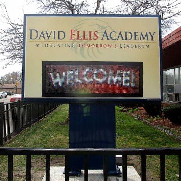 School Sign for David Ellis Academy Detroit