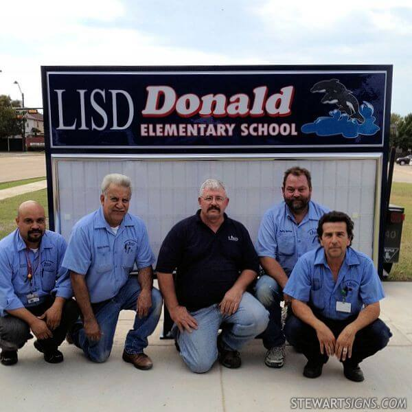 School Sign for Donald Elementary School