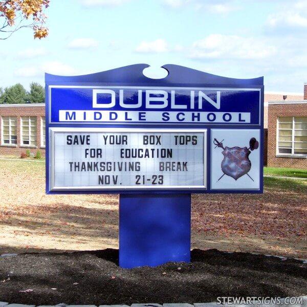 School Sign for Dublin Middle School