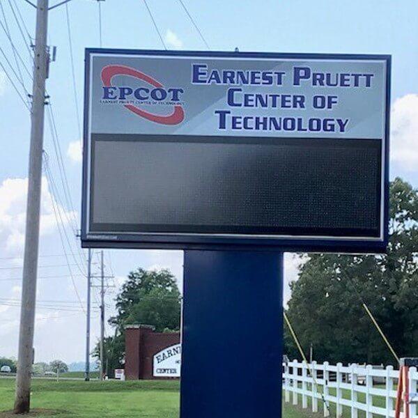 School Sign for Earnest Pruett Center Of Tech