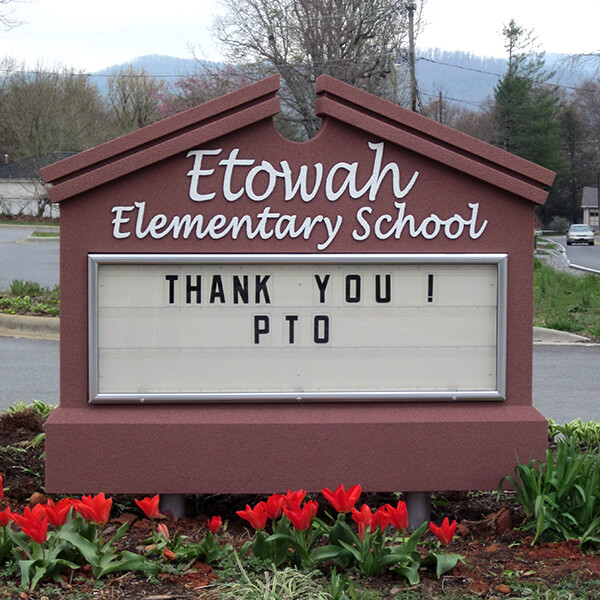 School Sign for Etowah Elementary School