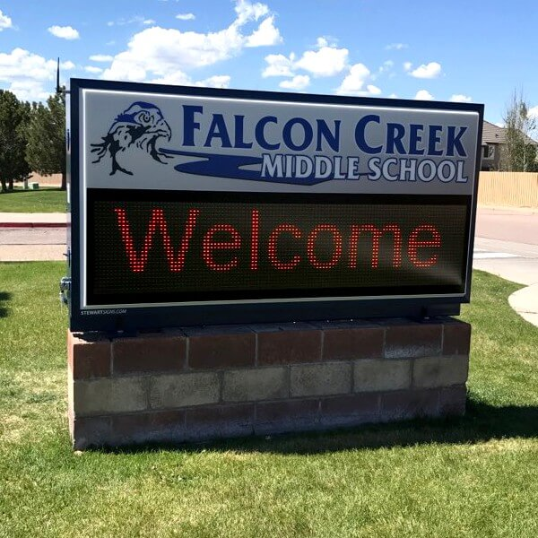School Sign for Falcon Creek Middle School