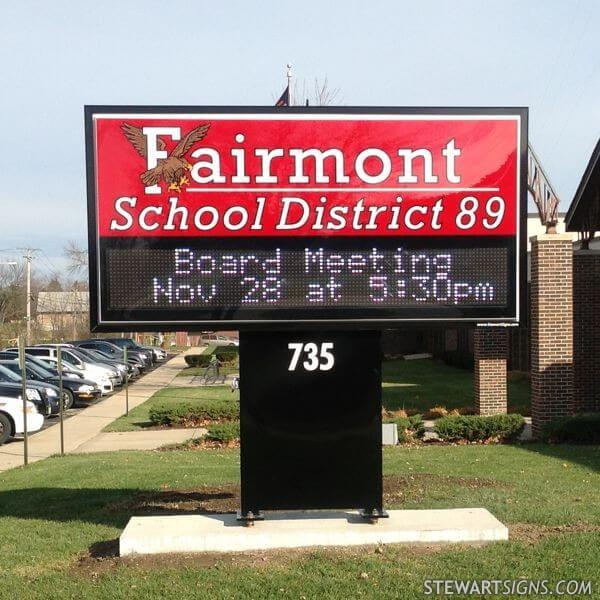 School Sign for Fairmont School District 89