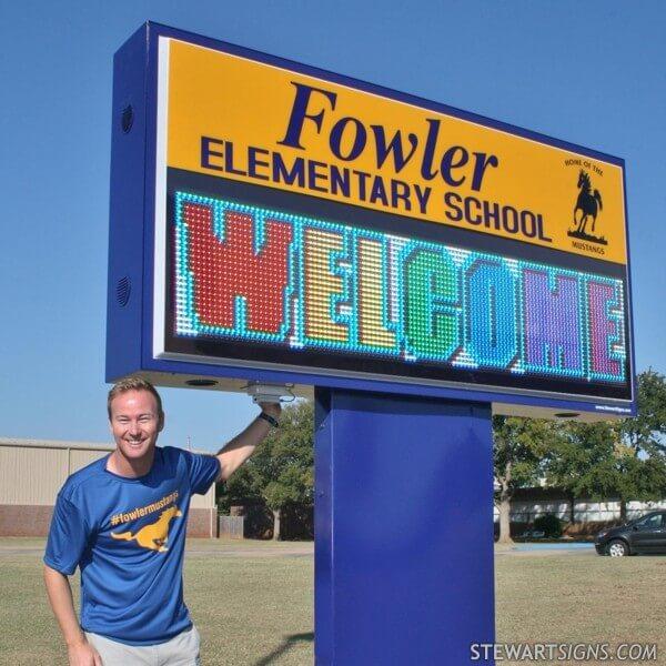 School Sign for Fowler Elementary School