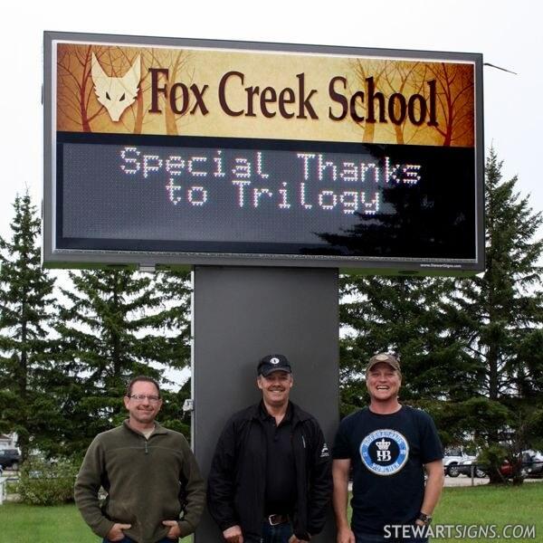 School Sign for Fox Creek School