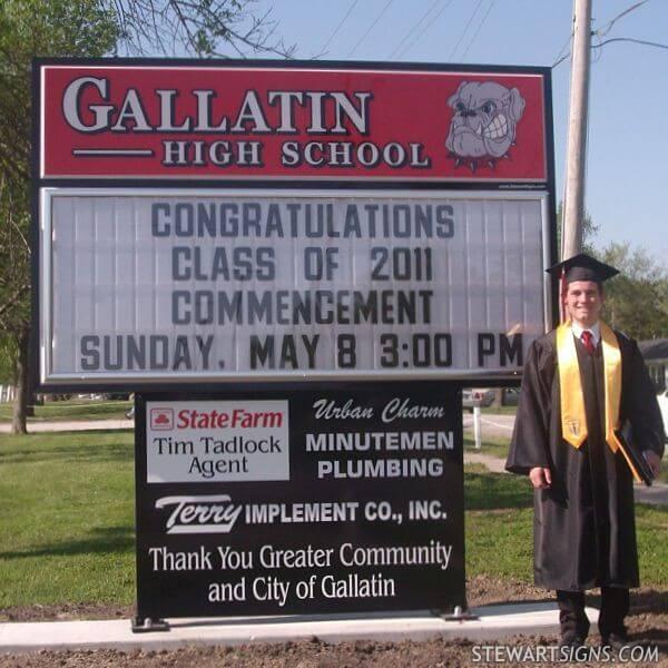 School Sign for Gallatin High School