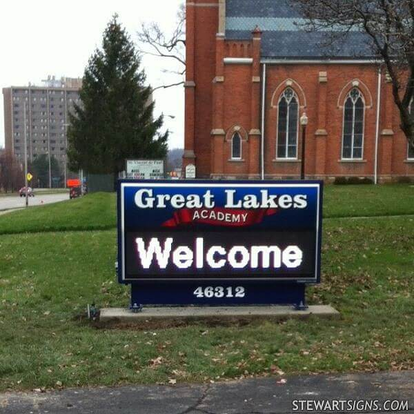 School Sign for Great Lakes Academy