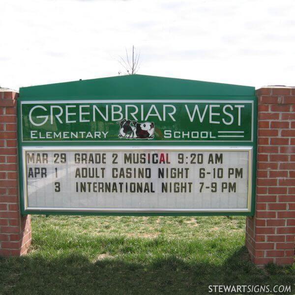 School Sign for Greenbriar West Elementary School