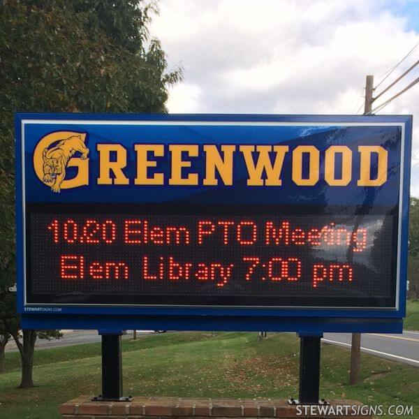 School Sign for Greenwood School District
