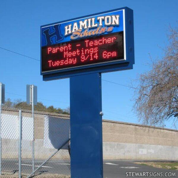 School Sign for Hamilton School K-8