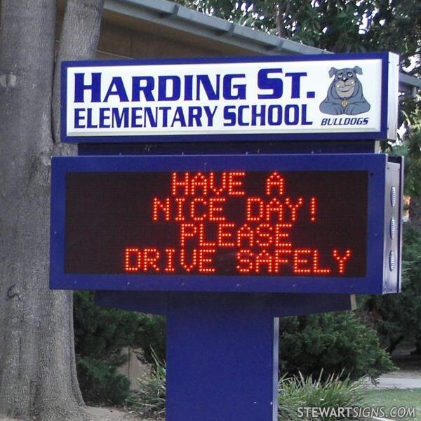 School Sign for Harding Street Elementary School