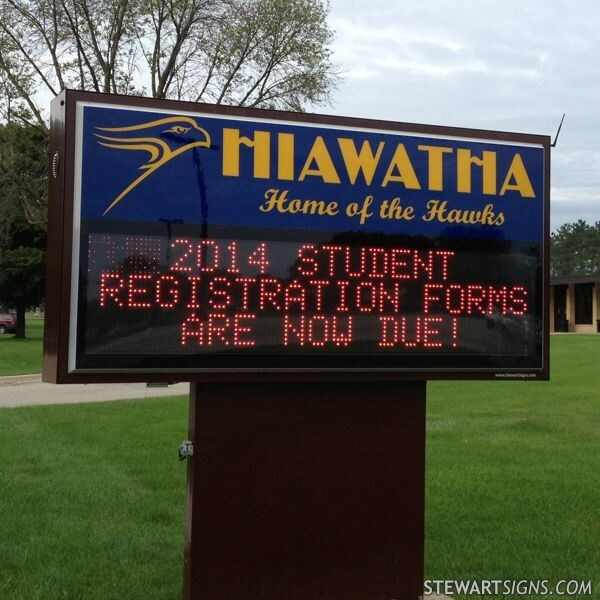 School Sign for Hiawatha High School