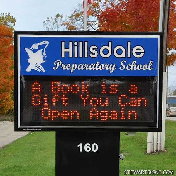 School Sign for Hillsdale Preparatory School