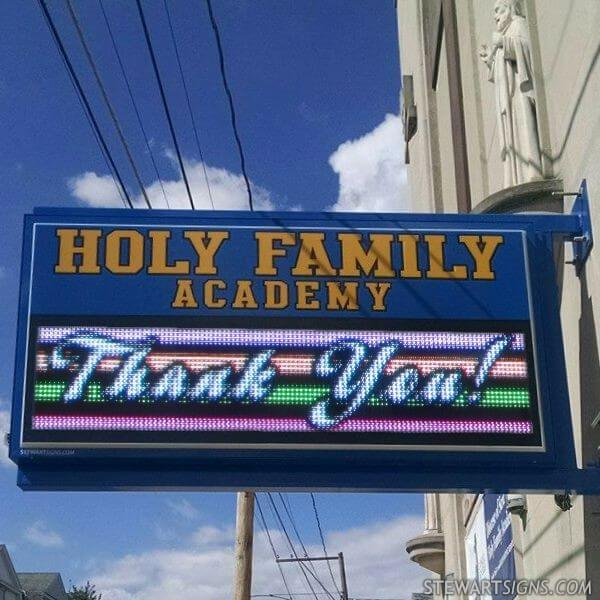 School Sign for Holy Family Academy