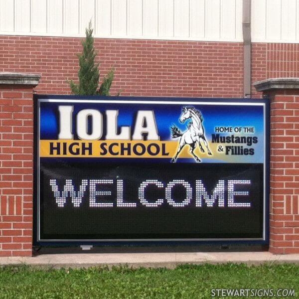 School Sign for Iola High School