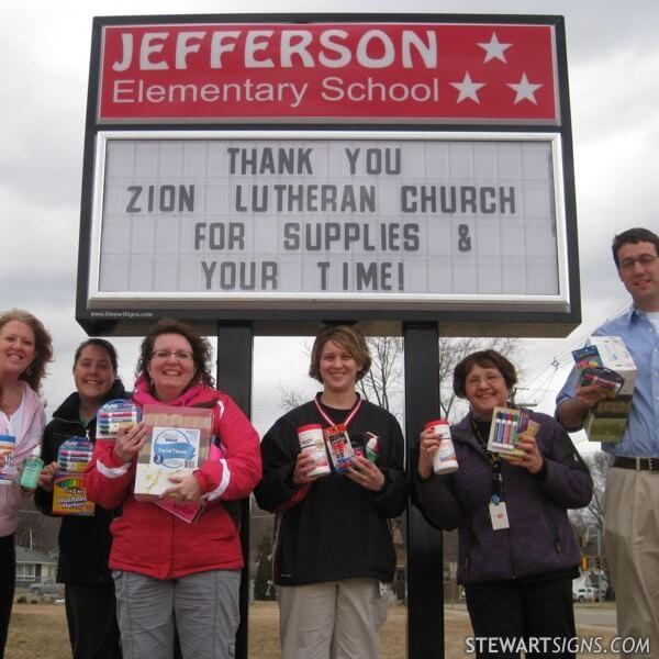 School Sign for Jefferson Elementary School