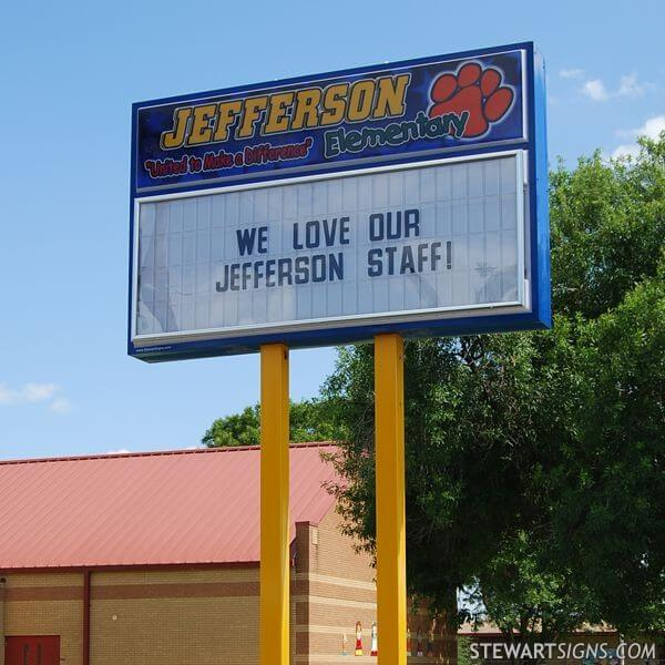 School Sign for Jefferson Elementary