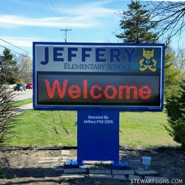 School Sign for Jeffery Elementary School