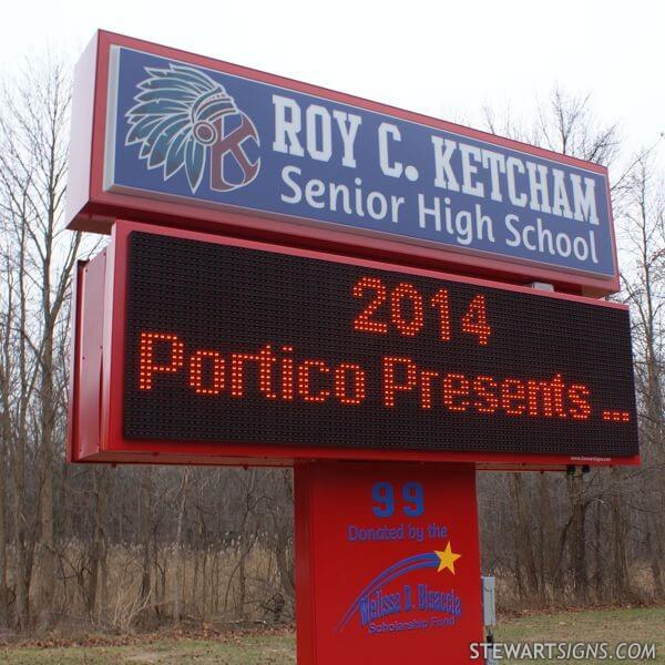 School Sign for Roy C. Ketcham High School
