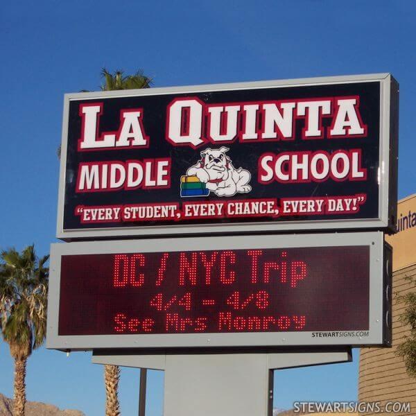 School Sign for La Quinta Middle School