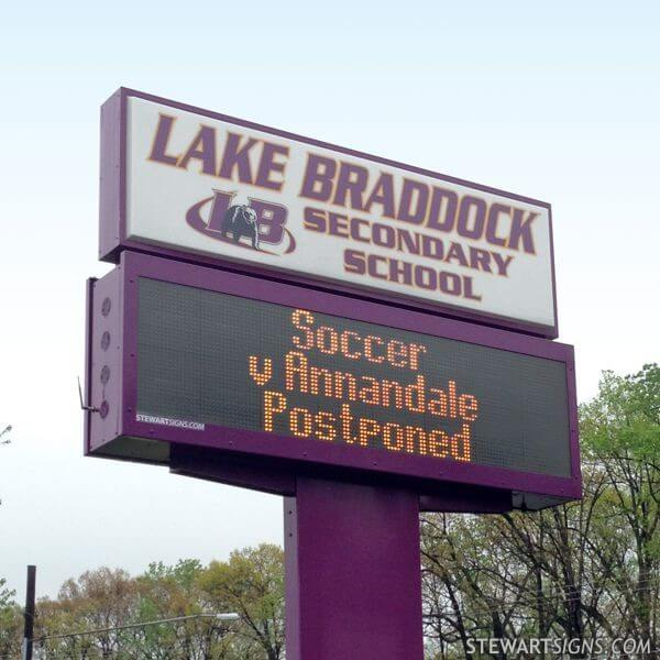 School Sign for Lake Braddock Secondary School