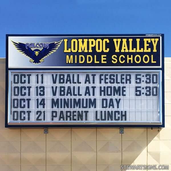 School Sign for Lompoc Valley Middle School