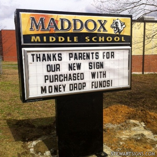 School Sign for Maddox Middle School