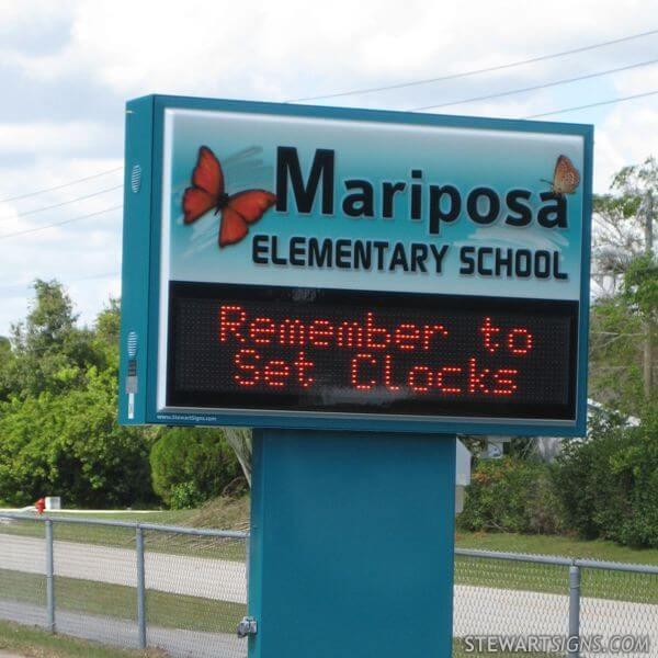 School Sign for Mariposa Elementary School