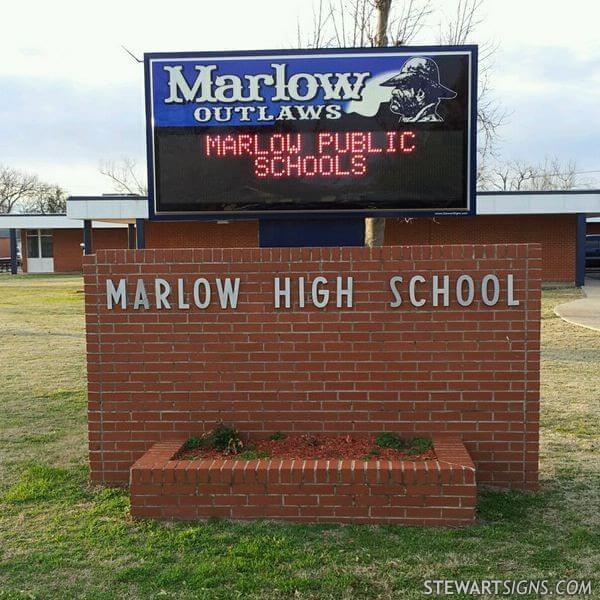 School Sign for Marlow High School