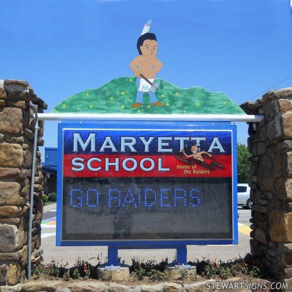School Sign for Maryetta School