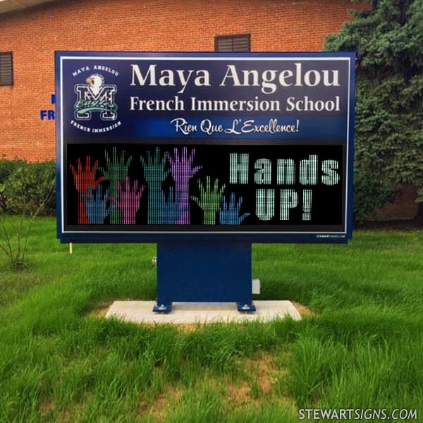 School Sign for Maya Angelou French Immersion School