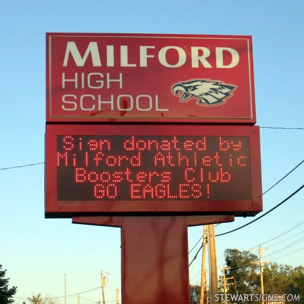 School Sign for Milford High School