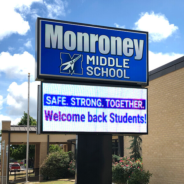 School Sign for Monroney Middle School