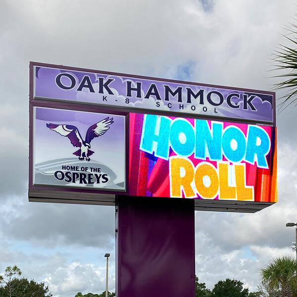 School Sign for Oak Hammock K-8
