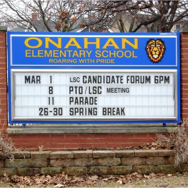 School Sign for Onahan Elementary School