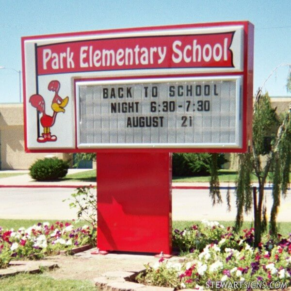 School Sign for Park Elementary School