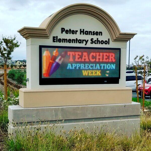 School Sign for Peter Hansen Elementary School