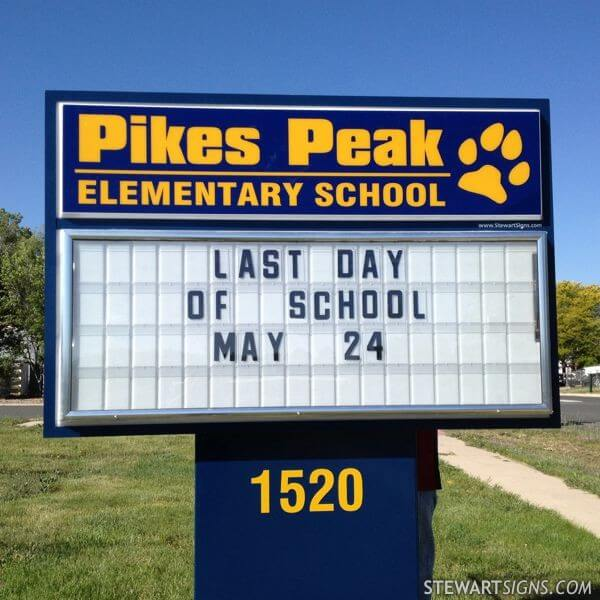 School Sign for Pikes Peak Elementary School