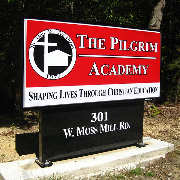 School Sign for Pilgrim Academy