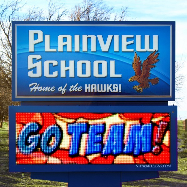 School Sign for Plainview School