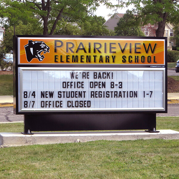 School Sign for Prairieview Elementary School