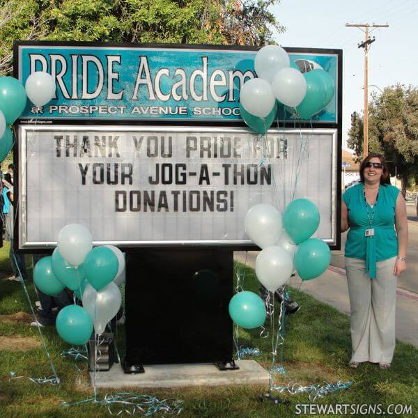 School Sign for Pride Academy