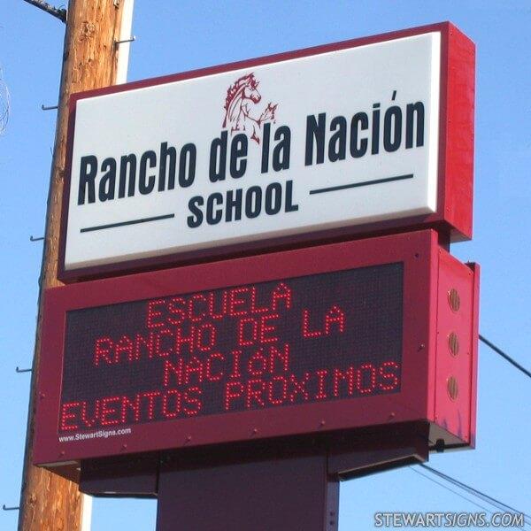 School Sign for Rancho De La Nacion School