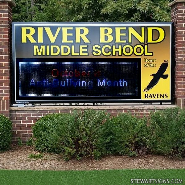 School Sign for River Bend Middle School