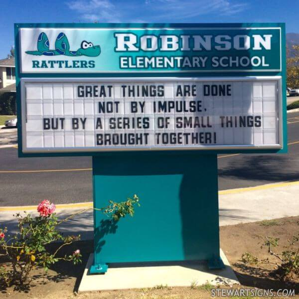 School Sign for Robinson Elementary School