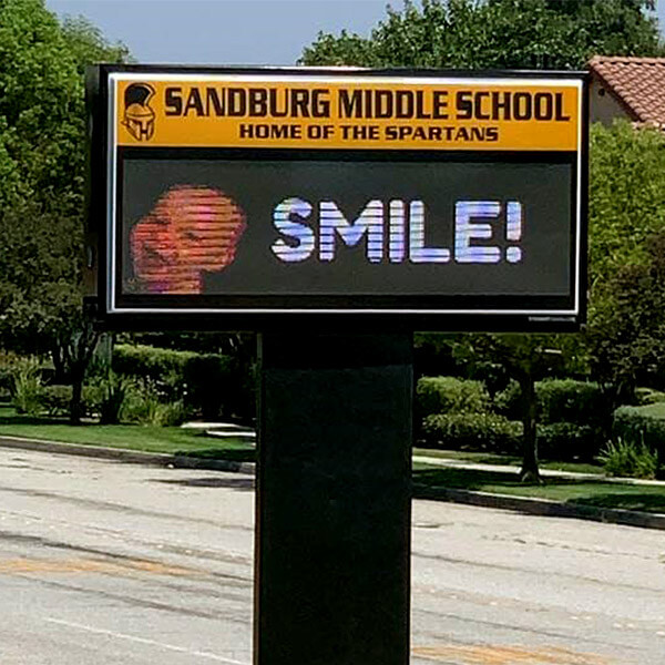 School Sign for Sandburg Middle School