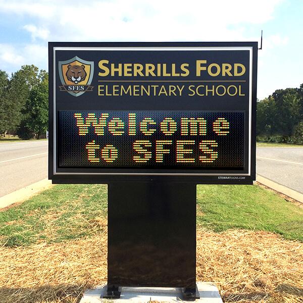 School Sign for Sherrills Ford Elem School