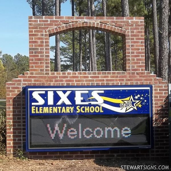 School Sign for Sixes Elementary School