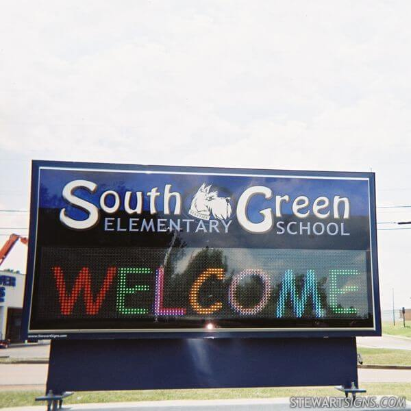 School Sign for South Green Elementary School