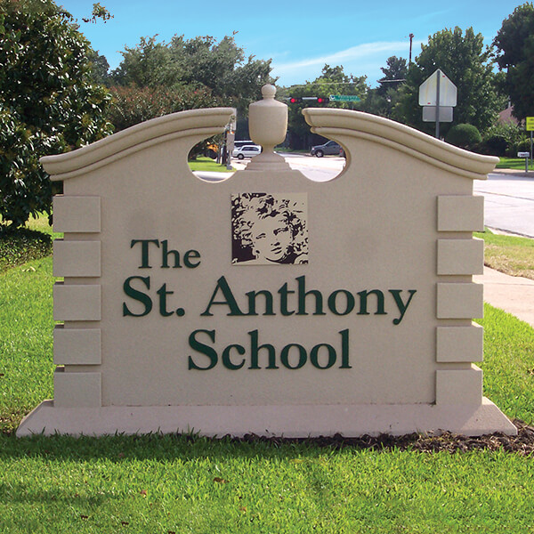 School Sign for The Saint Anthony School